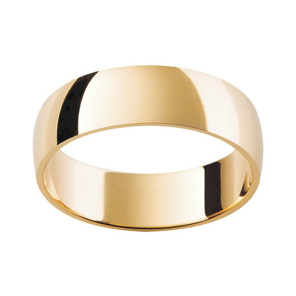LHR wedding band with semi-rounded profile