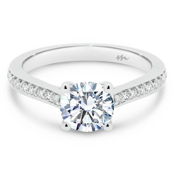 Laila moissanite ring 4 claw setting with pave set band