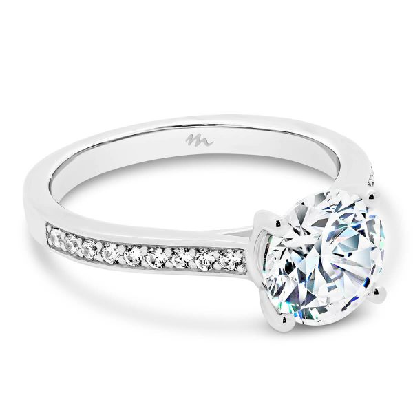 Laila moissanite engagement ring 4 claws in a pave set band
