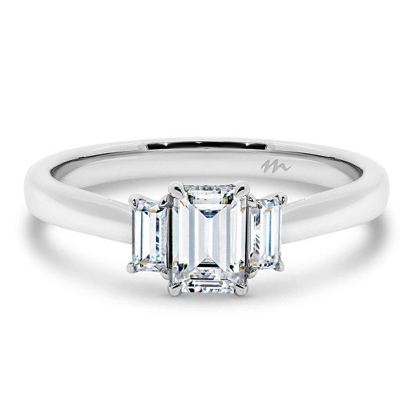 Laura three stone Moissanite engagement ring with three Emerald cut stones