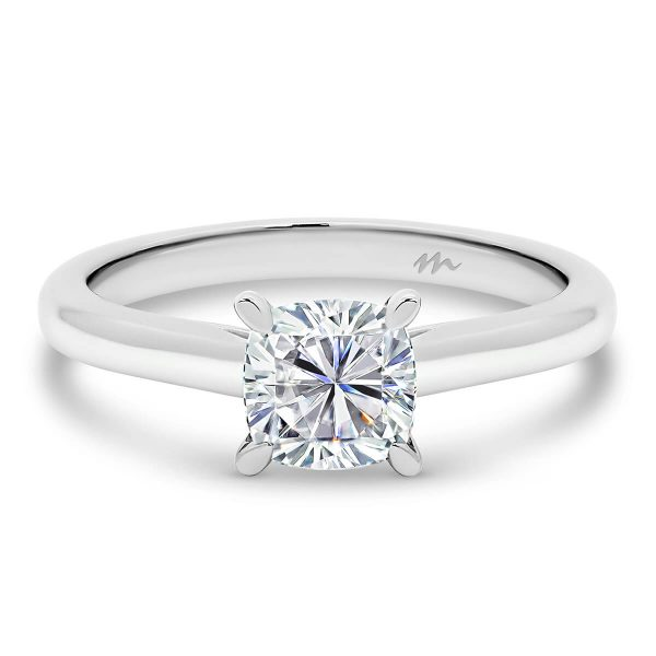 Leisel Cushion' Moissanite engagement ring with trellis gallery and plain
