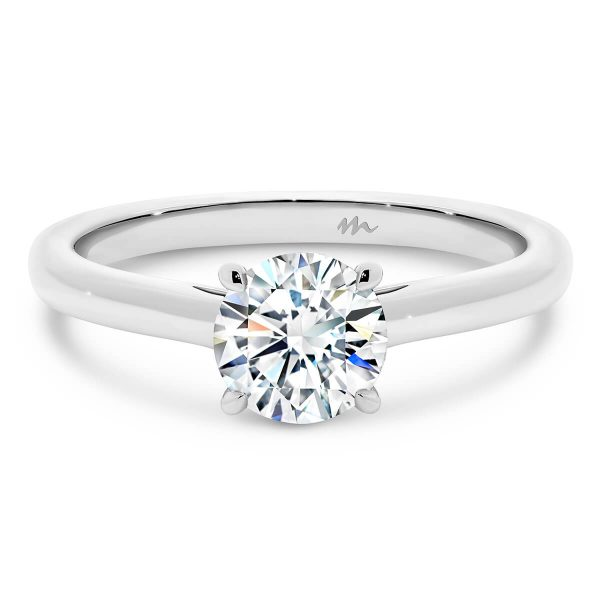 Leisel Round' Moissanite engagement ring with 4 prong setting and crossover gallery
