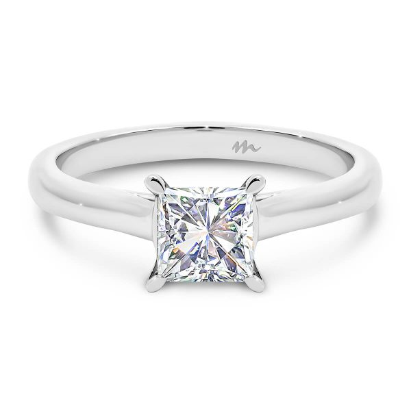 Leisel Square' Moissanite engagement ring with pear prongs and crossover gallery
