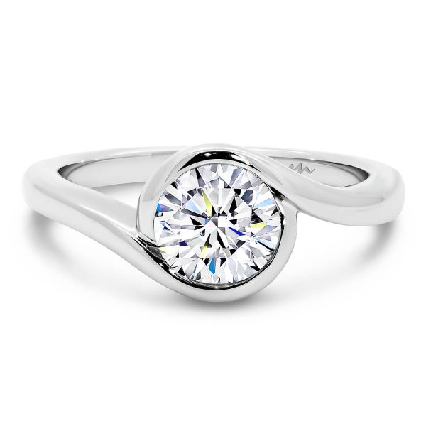 Liza Moissanite engagement ring solitaire ring with swirl halo and Round bezel set stone