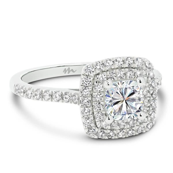 Louisa Cushion Moissanite engagement ring with micro pave double halo and band