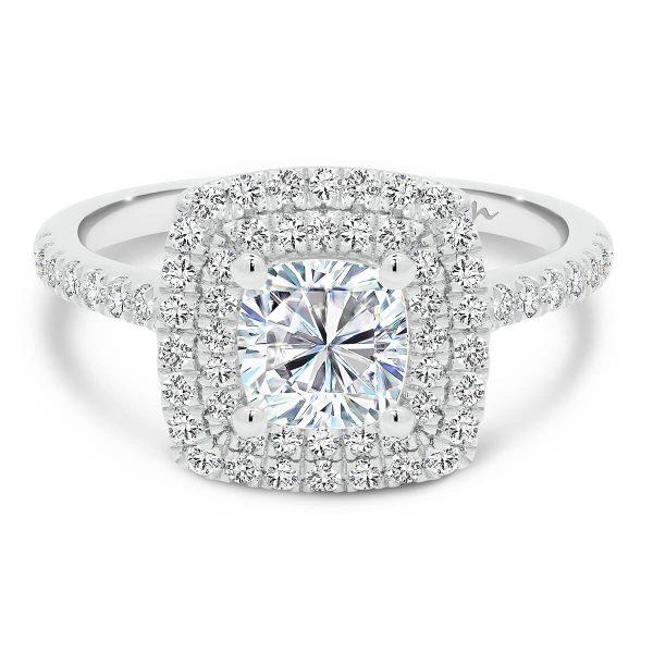 Louisa Cushion Moissanite engagement ring