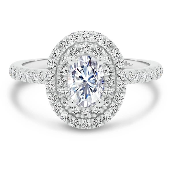 Louisa Oval Moissanite engagement ring with double halo and encrusted band