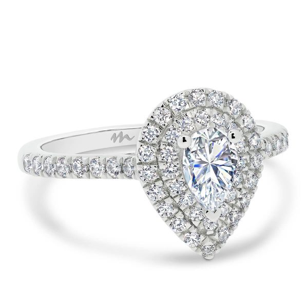 Louisa Pear Moissanite engagement ring with 2 row halo and delicate prong set band