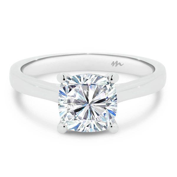 Lydia Cushion Moissanite engagement ring on slightly tapered band