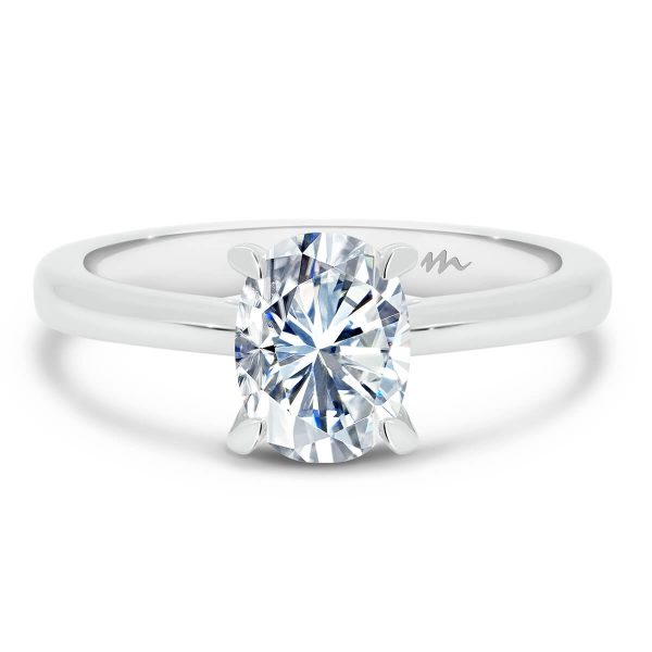 Lydia Oval Moissanite engagement ring with 4 prong V shaped setting