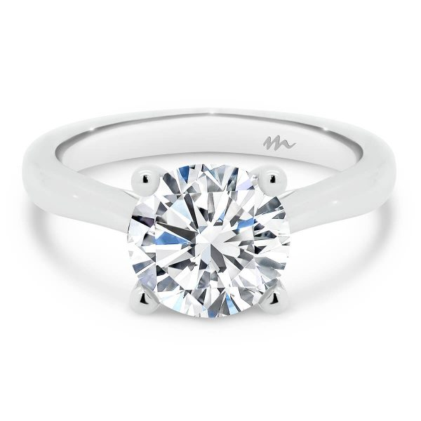 Lydia Round Moissanite engagement ring with tapered band