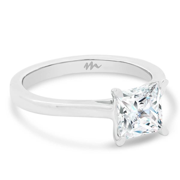 Lydia Square Moissanite engagement ring 4 prong setting on tapered band