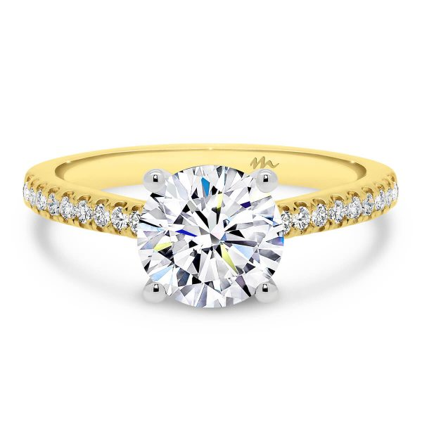 Lyla timeless 4 prong round moissanite ring on delicate band prong set