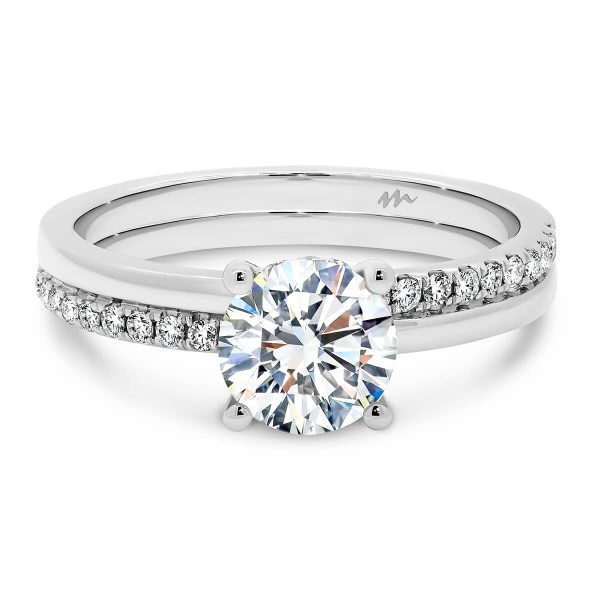 Maeve 4-prong Moissanite engagement ring on straight double band