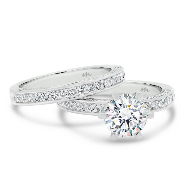 Marissa A three sided pave Moissanite wedding ring