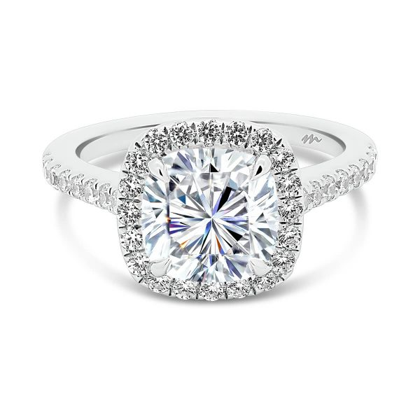 May Cushion cut halo engagement ring with stones all over the bridge and band.
