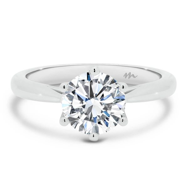 Mena 6-prong round Moissanite solitaire engagement ring