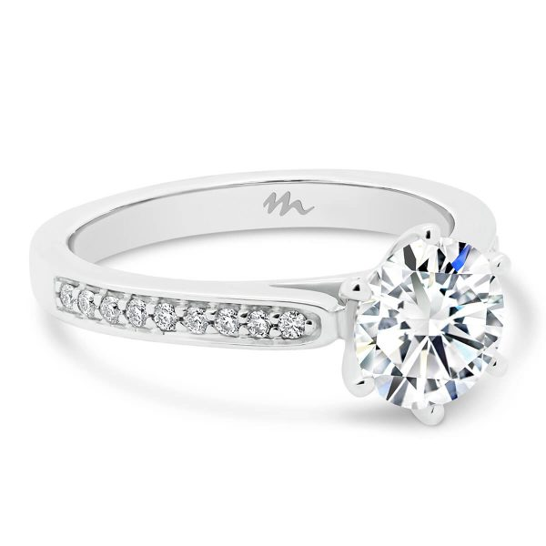 Milla Moissanite engagement ring with a pave band