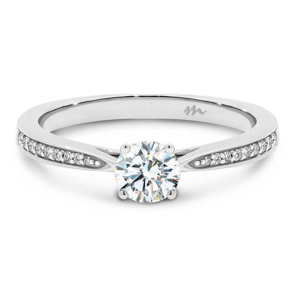 Montana 4-prong round Moissanite engagement ring on half band of graduating stones