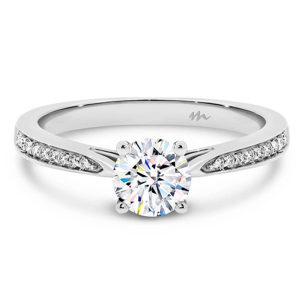 Montana 1.00 carat Moissanite engagement ring with 4-prong setting on half band of graduating stones