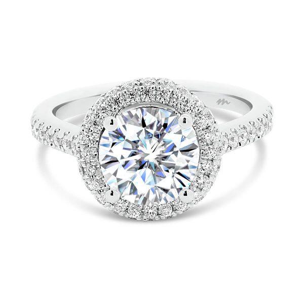 Mya Vintage Moissanite Ring Over Edge Halo