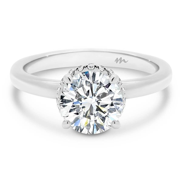 Nadia Round 7.5 1.5 carat Round Moissanite engagement ring with solitaire stone and encrusted hidden halo wraps around claws