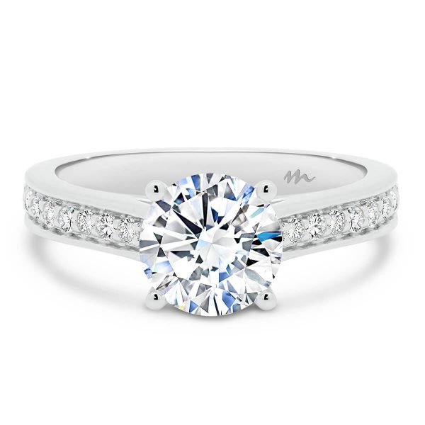 Neema engagement ring with Moissanite pave band.