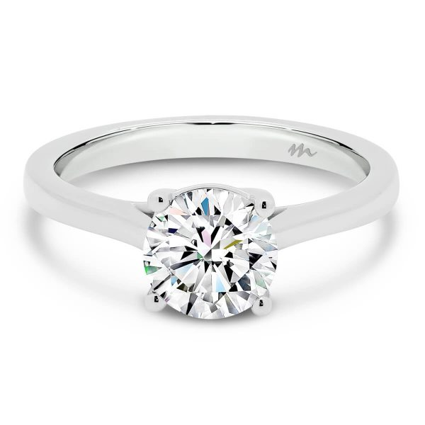 Nina Moissanite engagement ring 4 prong setting with crossover gallery