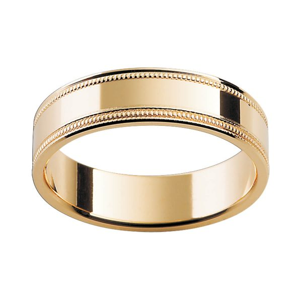 P11 men's ring with textured milgrain edges in a flat profile