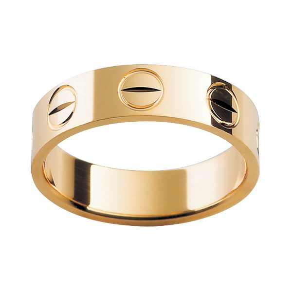 P202 men's band with screw motif in polished yellow gold