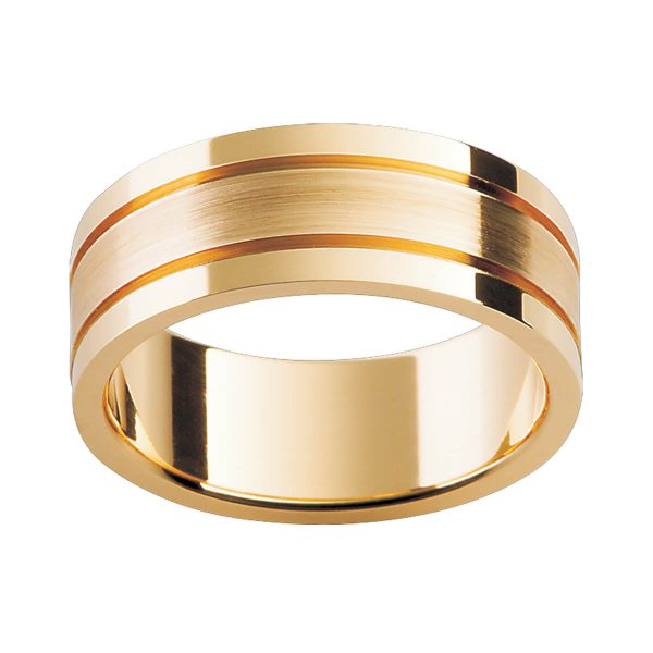P237 men's wedding ring with deep polished grooves in a polished and brushed finish