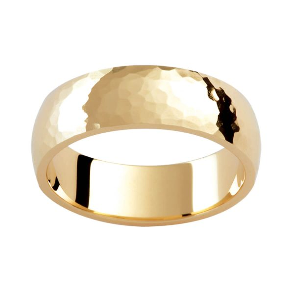 P249 polished yellow gold men's ring in hammer finish