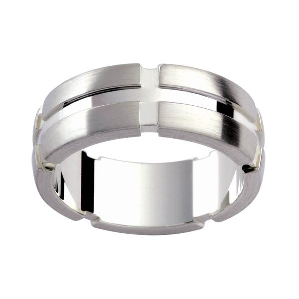 P261 men's band with thick vertical and horizontal cut-out grooves in an emery finish