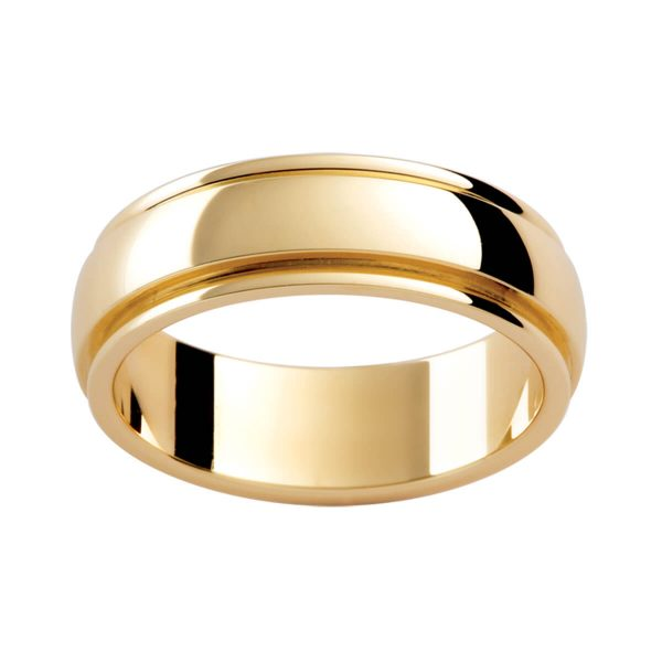 P286 men's ring in a semi-rounded band with grooved edges and polished finish