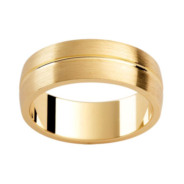 P287 brushed yellow gold men's ring with a polished centreline groove