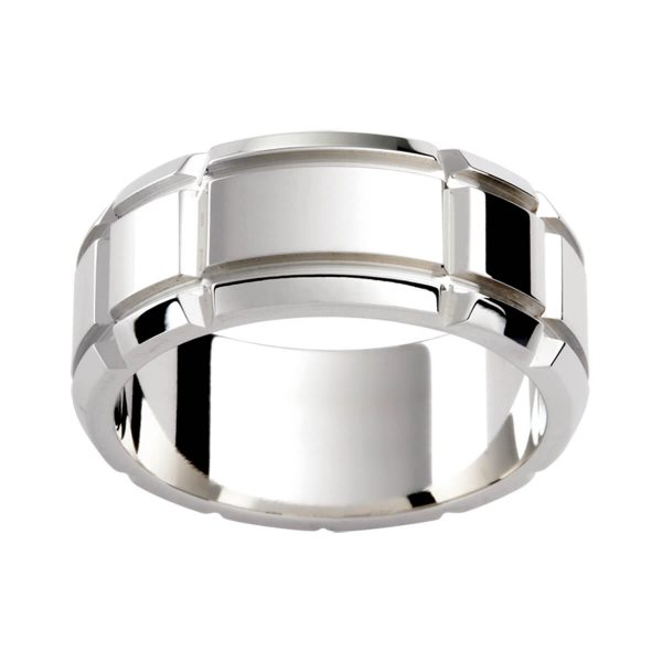 P295 men's patterned ring in polished white gold with deep horizontal and vertical cut-out grooves