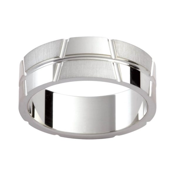 P299 stylish patterned men's ring with asymmetrical verical grooves and horizontal groove line in an emery and polished finish