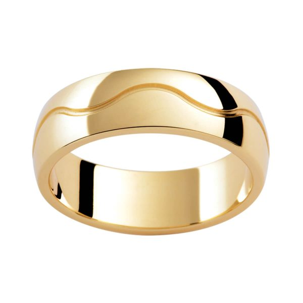 P342B Men's wedding band in polished yellow gold with wave pattern centreline groove
