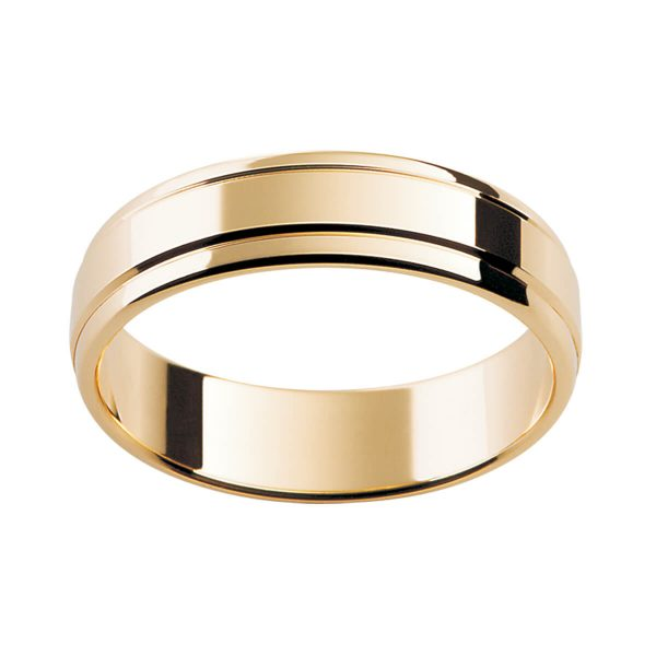 P69 men's ring with two horizontal grooves in polished yellow gold
