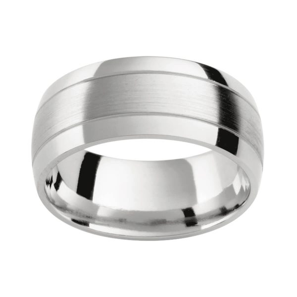 PC408 classic men's wedding ring with polished grooves in a matt and polished combination finish