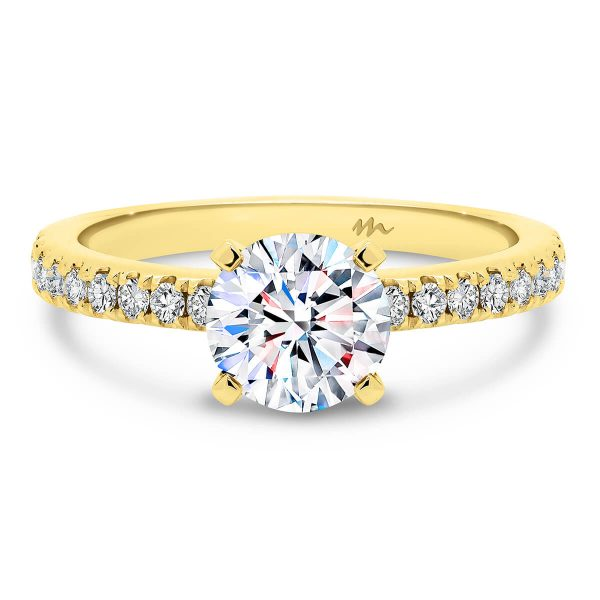 Payton 1.00 carat Moissanite engagement ring with 4 prong setting and delicate claw set band