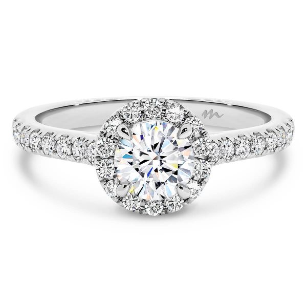 Penny Moissanite engagement ring with 4 prong round centre stone and prong set halo and half band
