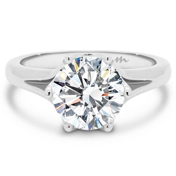 Peony 7.5 Moissanite engagement ring, 1.5 carat solitaire design with flower setting and split shank