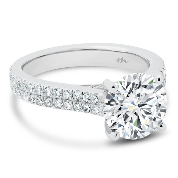 Rea Moissanite engagement ring with 2 row prong set band