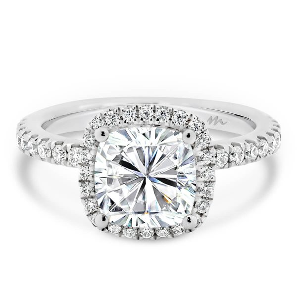 Rosie Cushion Moissanite engagement ring with halo and prong set band.