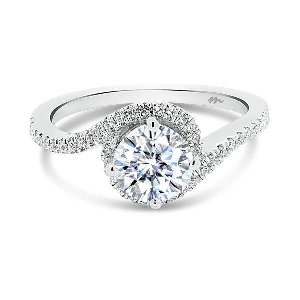 Sarah Moissanite engagement ring with swirl halo prong set band