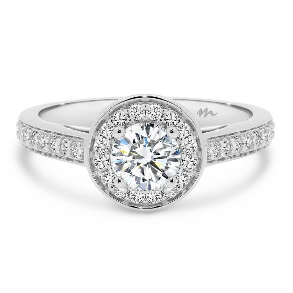 Sybella Round pave set halo and band engagement ring