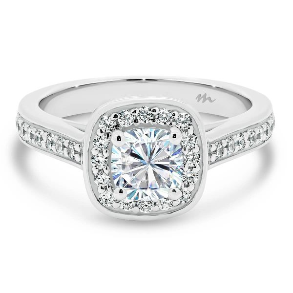 Sybella Cushion pave halo engagement ring