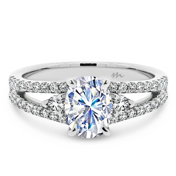 Sydney Oval cut Moissanite ring with a split band of encrusted jewels.