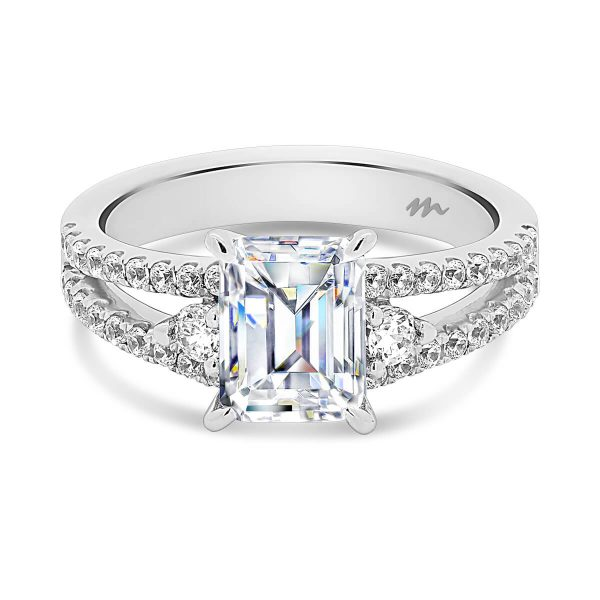 Sydney Emerald cut ring with a split shank encrusted in Moissanite.